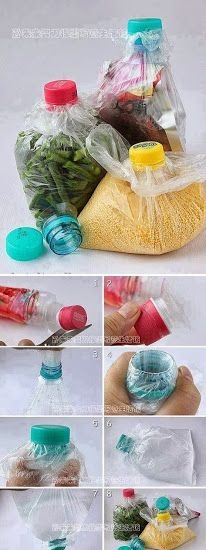 Plastic bag food storage - has anyone tried this? This is a great idea if the plastic bags don't tear from twisting the bottle cap