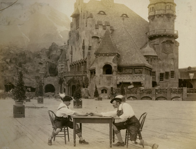 Arm wrestling of the Tyroleans, the Town Hall at the Tyrolean Alps on the Pike at the 1904 World's Fair.