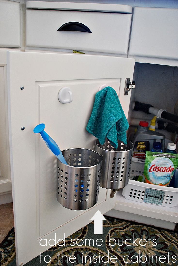 Kitchen Organization - This is a good idea for the sponges, brushes used in the sink.  I could possibly use this approach for the cabinet under the sink.: Organizations Ideas, Add Buckets, Diy Craft, Cabinet Doors, Cleaning Supplies, Clean Supplies, Kitchens Sinks, Cabinets Doors, Kitchens Organizations