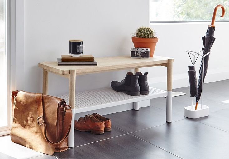 Everyone needs extra shoe storage in the entryway | Umbra Promenade Bench & Shoe Rack