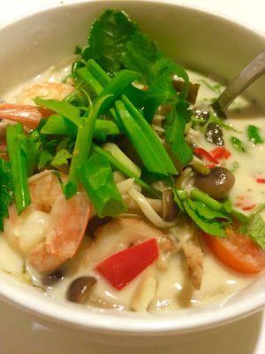 Jemy Pijemy : Tom kha tajska zupa kokosowa z krewetkami i grzybami. Tom Kha Goong.