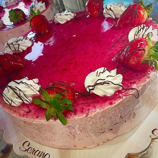 Strawberryemojimousse!!!emoji#strawberries #cake #fresh #whipcream #coffeetime #GreekBakery #Greektown #eastyork #papevillage #SeranoBakery #Torontobakery