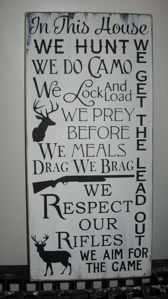 In This House We Hunt Family Rules Word Art by CottageSignShoppe