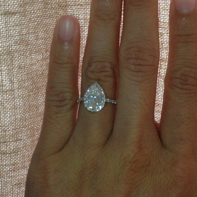 SamNSue Jewelry - 9x6mm forever brilliant pear moissanite - FINALLY A VIDEO :-D YAYAYAYAYAY