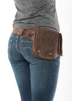 Hip Pack cuero utilidad correa – bombardero marrón (bolsillos más grande de cualquier banda en el mercado, ideal para teléfonos, funcionales y bellos)