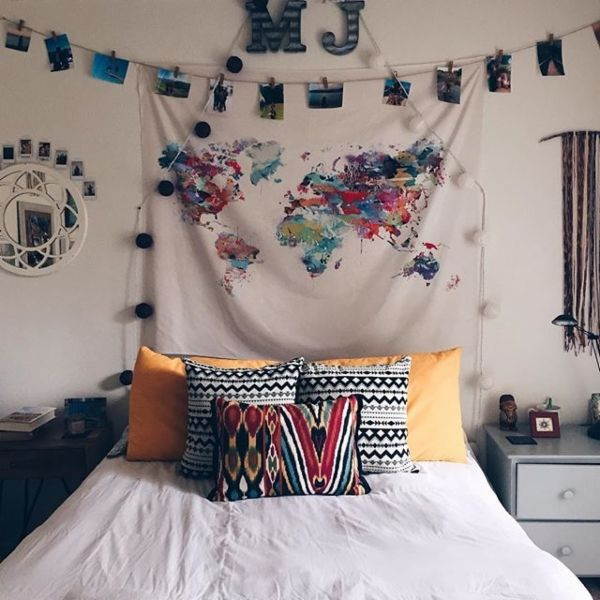 Bianca Green For DENY Louis Armstrong Told Us So Tapestry - Urban Outfitters // map wall decor and photos