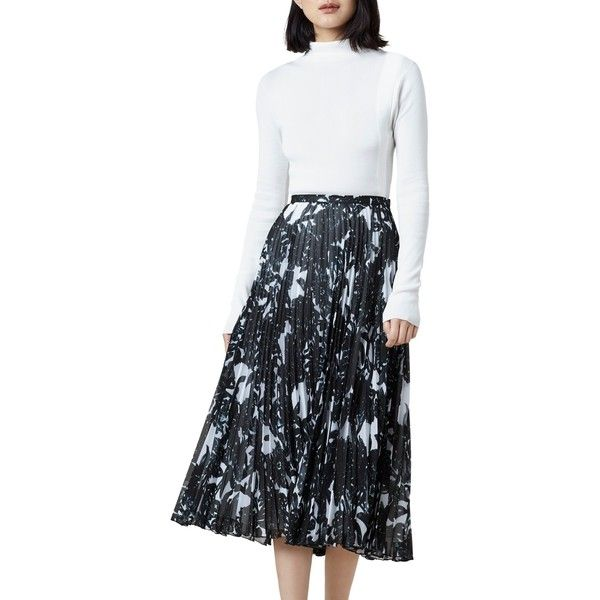 Finery Hobman Pleated Floral Print Skirt (€100) ❤ liked on Polyvore featuring skirts, patterned maxi skirt, floral maxi skirt, floral print long skirt, long maxi skirts and long floral maxi skirt