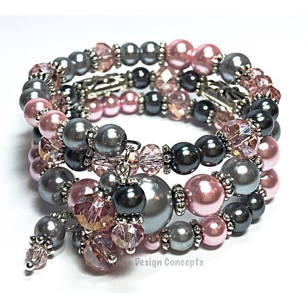 Wrap Bracelet- Pink Gray Memory Wire Bracelet- Pearl Cuff Bracelet-... (£16) ❤ liked on Polyvore featuring jewelry, bracelets, wire bangle bracelet, cuff bracelet, pink bracelet, bridal bracelet and grey pearl bracelet
