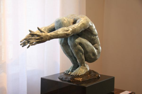 #Bronze #sculpture by #sculptor Heidi Hadaway titled: 'Crouching Man (Squatting Male nude thinking statue)'. #HeidiHadaway