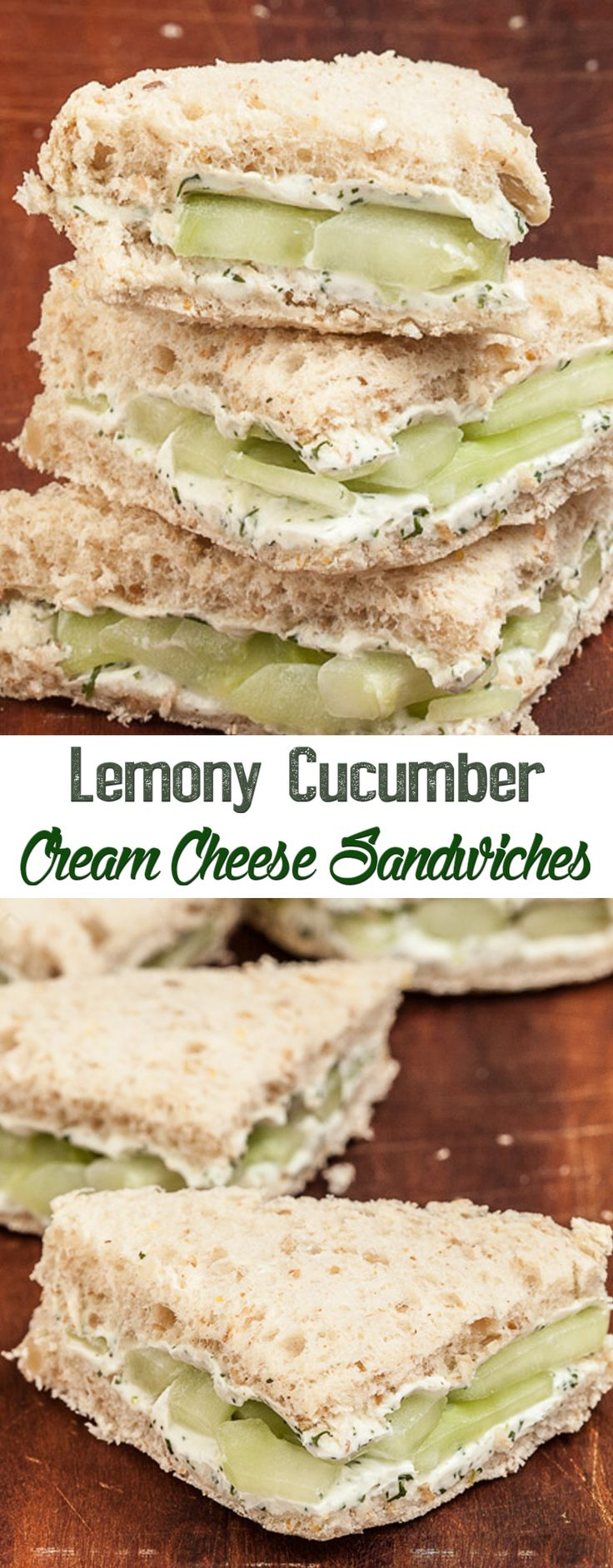Lemony Cucumber Cream Cheese Sandwiches. I can't wait to make this with my fresh grown cucumbers.