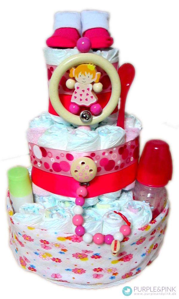 Diaper Cake til pige - unik #barselsgave eller #dåbsgave enhver baby pige