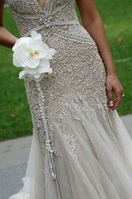 embroided wedding dress, simple stylish phaelenopsis bouquet