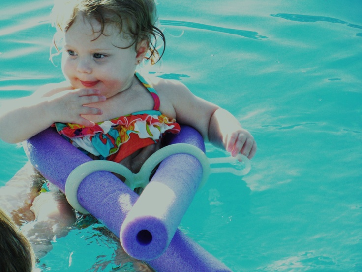 using the with a foam swim noodle to make a pool float for gabbie
