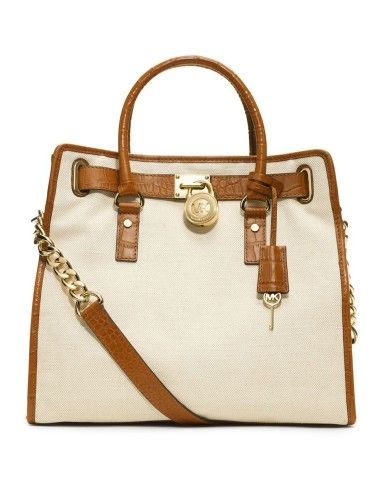 MICHAEL Michael Kors Hamilton Canvas Tote Bag - Ecru/Luggage