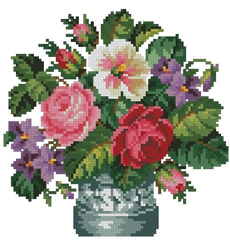 Roses, petunia and violets in a glass vase antique digital cross stitch pattern