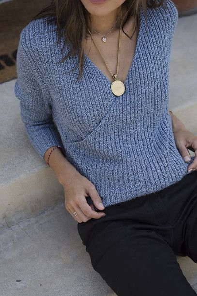 Jewels: tumblr necklace gold necklace gold jewelry pants black pants grey sweater blue sweater