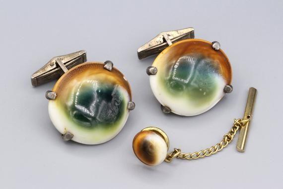 Silver Tone Metal Cufflinks Vintage round Locket Cuff Links w Fancy Debossed Floral Front