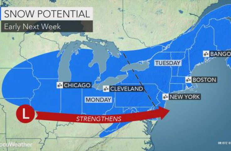 Nor'easter may bury mid-Atlantic, New England with heavy snow next week