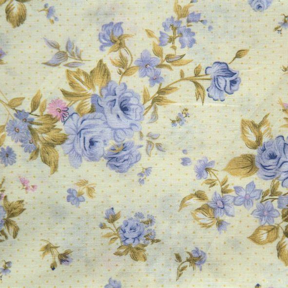Bavlněná látka Růže modré na sv. žluté 9,9