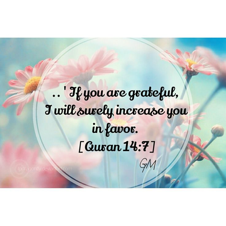 ' If you are greatful, I will surely increase you in favors.' [Quran 14:7]
