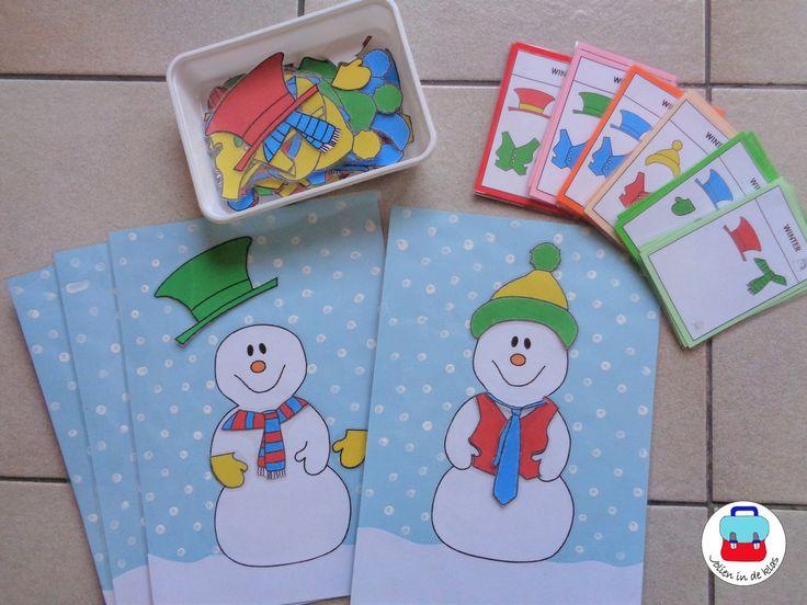 Aankleedpuzzel sneeuwman met opdrachtkaarten