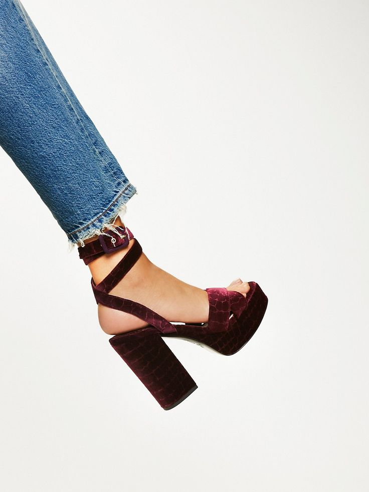 Boom Platform | Fun '70s-inspired platform sandals with a chunky block heel. Features an adjustable belt that wraps around the leg. Gorgeous shimmering fabric or pretty velvet.