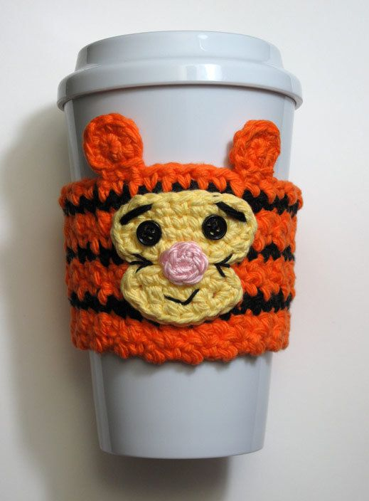 Crocheted Tigger Coffee Cup Cozy by TheEnchantedLadybug on Etsy