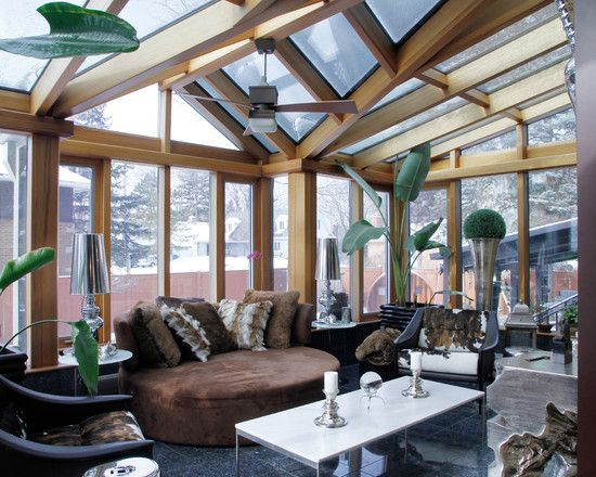 Decorating, Attractive Transitional Conservatory Interior Design With Modern Also Brown Adorable Day Bed With Brown Cushions Also White Modern Coffee Table Also Black Granite Flooring And Modern Blade Ceiling Fan: Design for Conservatory Ideas