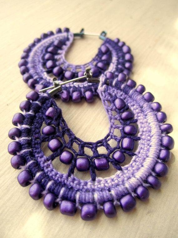 Crocheted hoops in purple by BohemianHooksJewelry on Etsy, $15.00