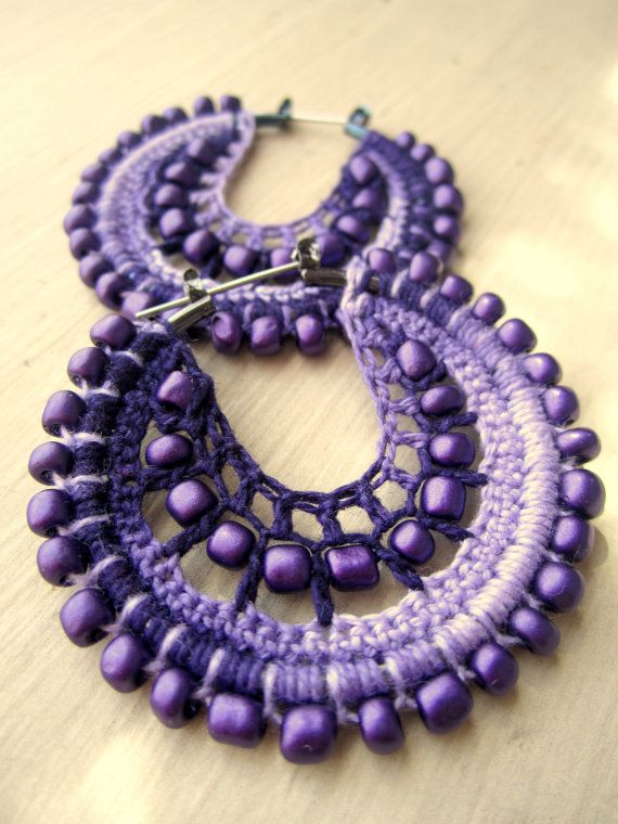 Crocheted hoops in purple by BohemianHooksJewelry on Etsy, $15.00