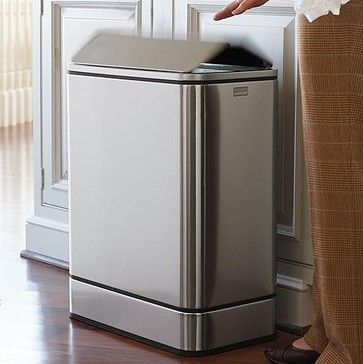 Simplehuman Butterfly Sensor Trash Can - Frontgate contemporary kitchen trash cans