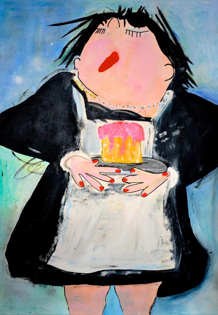 dikke dames schilderij serveerster. $189,65, via Etsy.