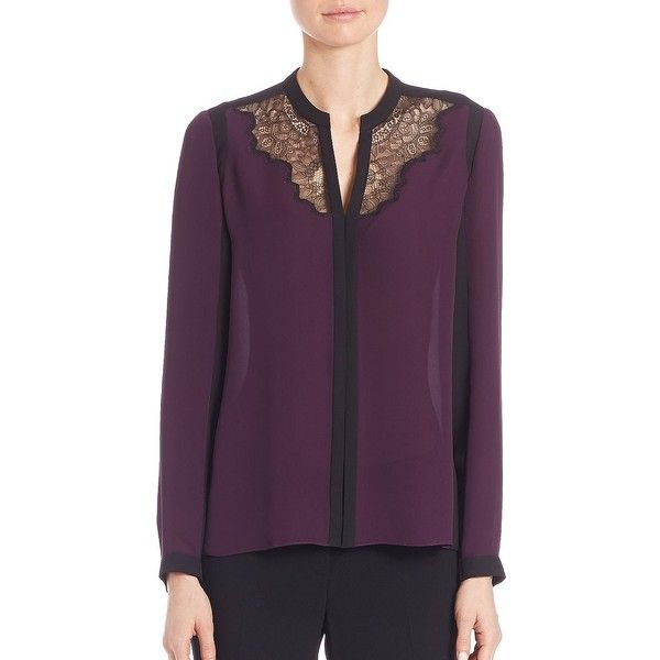 Elie Tahari Colorblock Silk Blouse ($298) ❤ liked on Polyvore featuring tops, blouses, apparel & accessories, sweater pullover, v-neck pullover, long sleeve silk blouse, long sleeve blouse and silk blouse