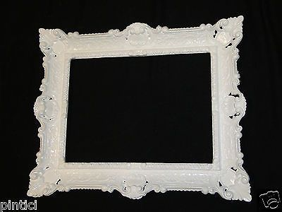Bilderrahmen Barock Weiß 57x47 Rahmen jugendstill Antik Rechteckig Fotorahmen