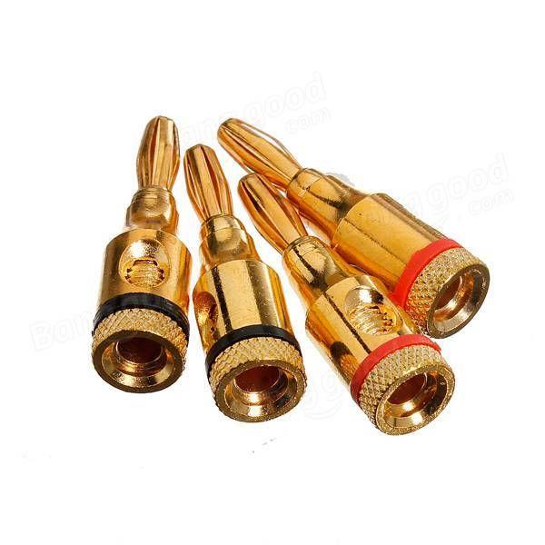 2X4pcs 4mm Lautsprecher Bananenstecker Audio Jack Cable Connector adapter Gold - US$4.22 - Banggood Mobile JPY488
