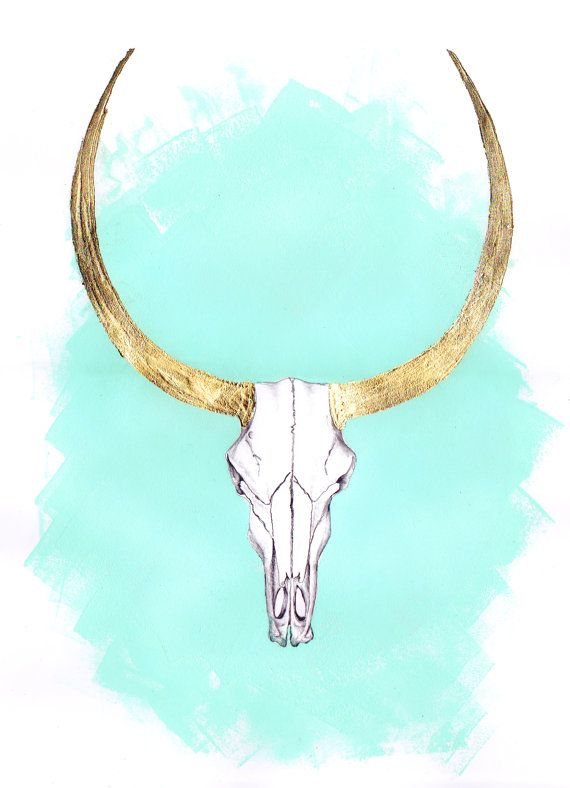 Gold and turquoise Ram Skull Artwork with real by ElsieInvents, $35.00