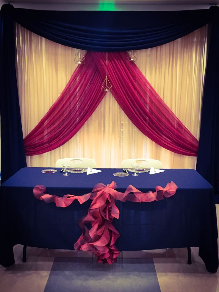 Navy Blue Gold And Burgundy Custom Backdrop For