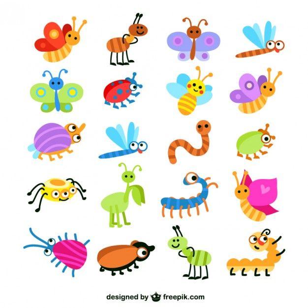 Coleta de insetos coloridos Vetor grátis