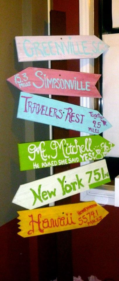 Great sign for all the places Amanda & Eric have been! Met in Atlanta, got engaged in the Bahamas, getting married in Chattanooga, etc.