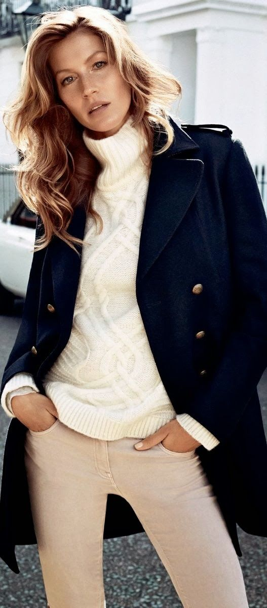 Cute Sweater With Navy Blue Coat