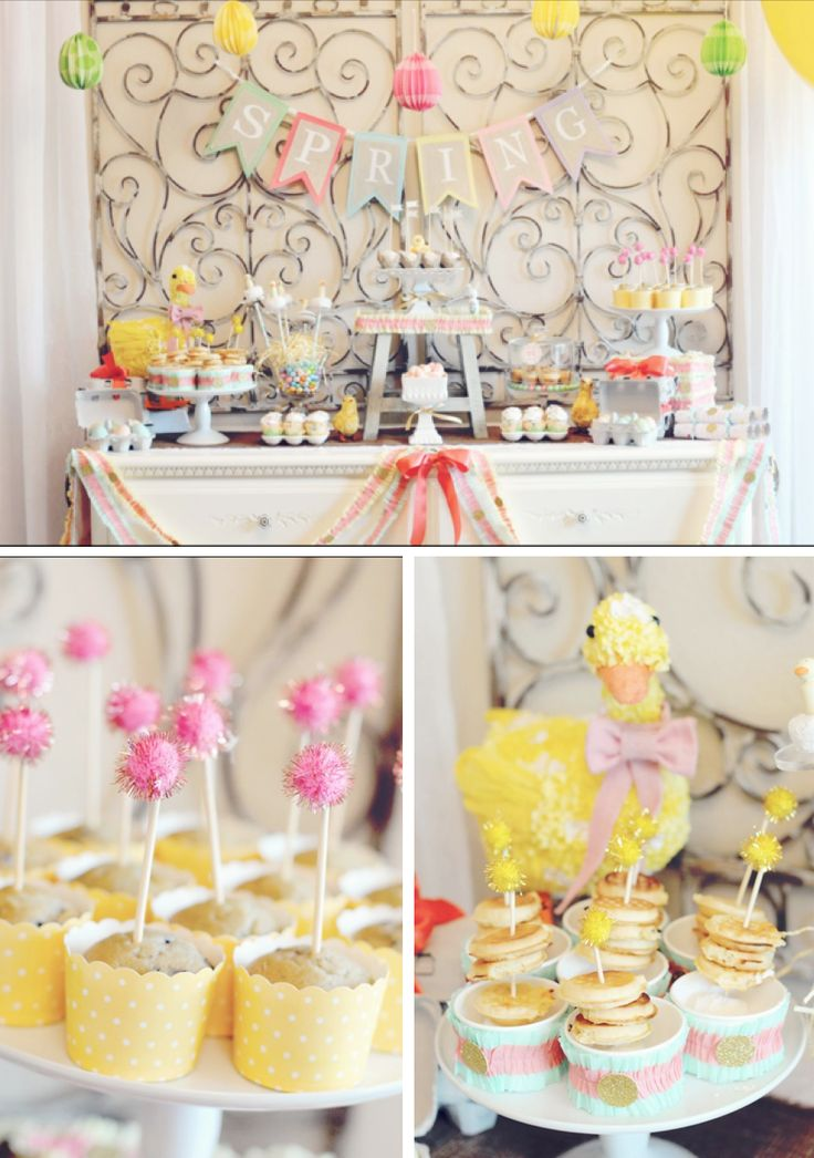 Little Duckling Easter Spring Party via Karas Party Ideas karaspartyideas.com #easter #spring #little #duckling #party #idea #decor #food #cake