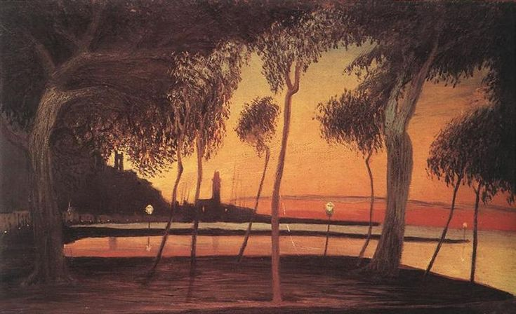 Sunset Over the Bay of Naples, 1901 by Tivadar Kosztka Csontvary. Expressionism. landscape