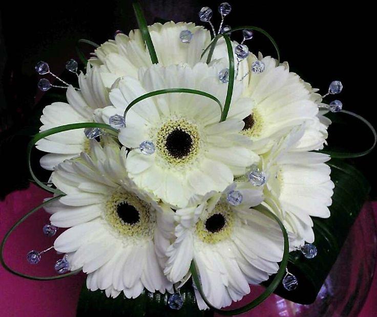 Gerbera Daisy Bouquet white / black gerbera ...