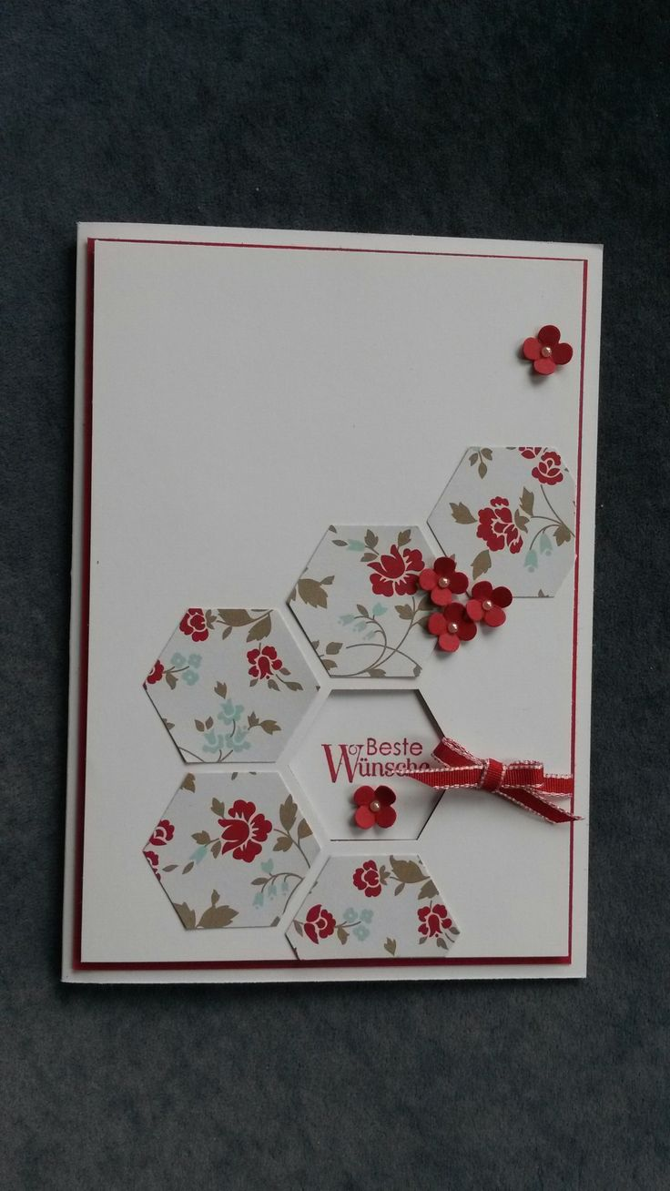 Stampin'Up! ... card created using the hexagon punch ... grounping of hexagons punched from flower paper and small punched flowers ... one negative space hexagon punched out to show sentiment on the inside ... like it!