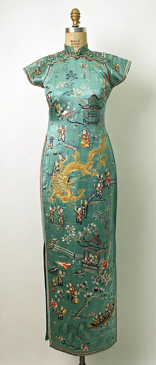 """c1932 Dress """"The modern qipao (or cheongsam in Cantonese) was developed in Shanghai in the mid-1920s and was popularized by wealthy socialites. It was much more fitted than the original loose-fitting qipao.""""   The Met"""
