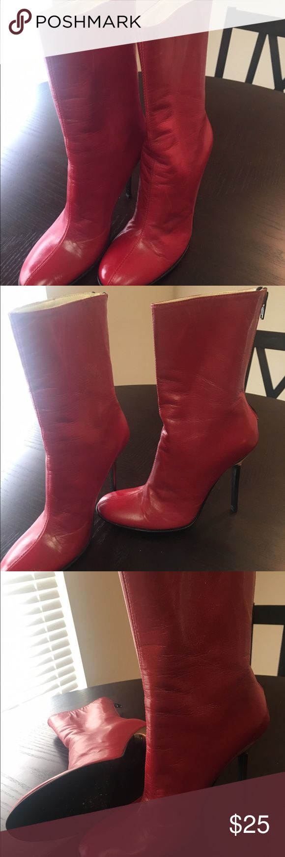 Women Charles David red calf high boots Size 5 red leather with gold stilettos heels. Excellent condition. No scratches. Only worn one time. Charles David Shoes Ankle Boots & Booties
