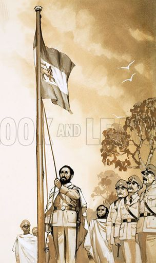 The Day That... An Emperor Regained His Throne. Haile Selassie raises the Ethiopian flag after five years of Italian occupation. Original artwork from Look and Learn no. 563 (28 October 1972).