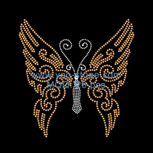 Butterfly Rhinestone Heat Transfers Customized For Woman Dress