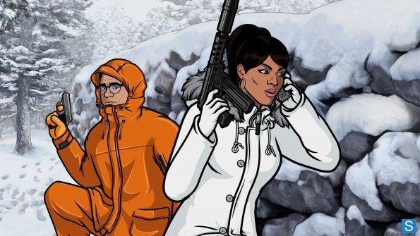 ARCHER: Episode 2 SEASON 4 : The Wind Cries Mary (airing Thursday, January 24). Archer and his former best friend (Timothy Olyphant) are holed up in the Vermont wilderness, fighting hard to come out on top. L-R: Cyril Figgis (voice of ) Chris Parnell and Lana Kane (voice of Aisha Tyler). FX Network