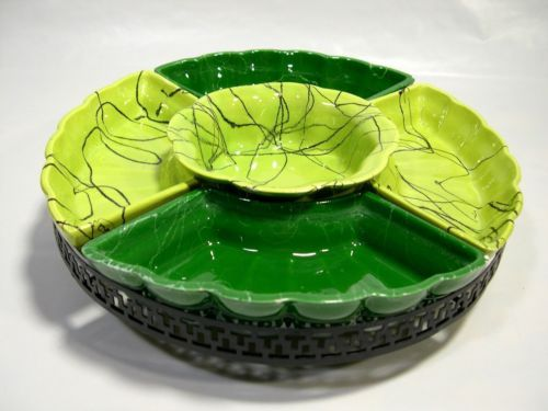 Vintage Lazy Suzan Turntable Green Ceramic 6 Pcs Black Metal Stand U002750s  Serving Tray Kitchen
